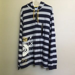 NWT$84 SEAN JOHN navy Nautical stripe hoodie 3XL